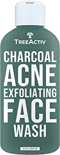 TreeActiv Charcoal Acne Exfoliating Face Wash   Hydrating Sulfur Cleanser for Pimple, Zit, Whitehead, Blackhead, Hormonal...