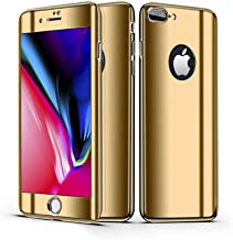 Leagway iPhone 8 7 Case Cover, Ultra Slim Electroplate 360 Degree Full Body Protection Anti-Scratch Mirror Case With Tempered Glass Screen + Hard PC Protector for Apple iPhone 7 iPhone 8 (Gold)