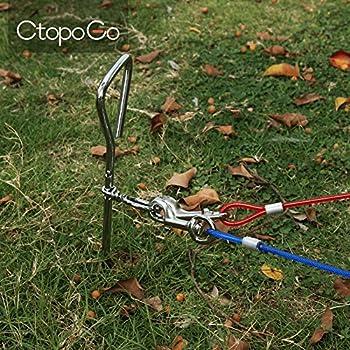 CtopoGo 10ft/16ft/33ft - Câble d'attache pour Chiens,Chien Cravate câble, câble de Cravate pour Animaux, Animaux de Compagnie Plomb pour Petit/Moyen Taille (3m, Rouge)