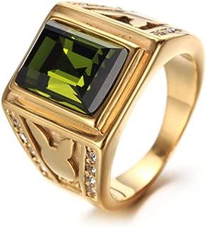 YABINI Europe and American Jewelry Men's Titanium Steel Rabbit Gemstone Rings
