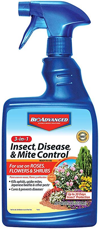 BioAdvanced 701290B Insecticide Fungicide Miticide 3 In 1 Insect Disease Mite Control 24 Oz Ready To Use