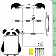 Mag-Fancy Panda Magnetic Calendar for Refrigerator - Stain Resistant - Weekly Dry Erase White Board Planner - Meal Planner - Panda Gifts - with Small Size Note Board (Panda Weekly)