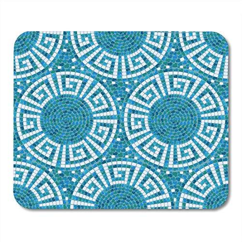 Mauspads Pool Buntes Griechenland Mosaikmuster Blau Keramik Klassisches Geometrisches Mauspad für Notebooks, Desktop-Computer Matten Büromaterial
