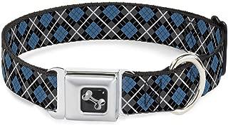 Buckle-Down Seatbelt Buckle Dog Collar - Argyle Black/Gray/Turquoise - 1.5