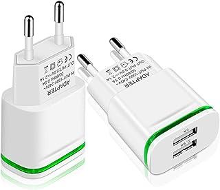 LUOATIP Cargador USB, 2-PACK 2.1A 5V Universal Doble Puertos Corriente Enchufe Movil de Pared Adaptador Replacement for iP...
