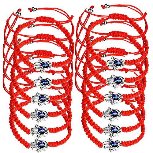 Reizteko 12pcs Lucky Hamsa String Line Kabbalah Bracelets Braided String Cord and Rotating Evil Eye Hamsa Hand - Jewish Amulet Pendant for Success Protection Lucky (12 pcs red string bracelet)
