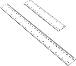 """Allinone Plastic Ruler Flexible Ruler with inches and metric Measuring Tool 12"""" and 6"""" inch (2 pieces)"""