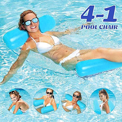 COWINN Aufblasbares Schwimmbett, Wasser-Hängematte 4-in-1Loungesessel Pool Lounge luftmatratze Pool aufblasbare hängematte Pool aufblasbare hängematte für Erwachsene und Kinder ( Blau und weiß) (Blue)