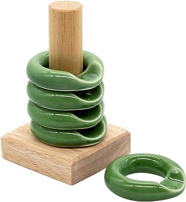 波佐見焼 康創窯 箸置き Ringレスト 5個セット 木製スタンド付木箱入 グリーン 01112063