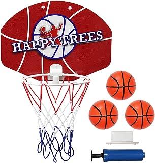 Happy Trees Slam Dunk Mini Basketball Hoop Set Toy Backboard for Door Bedroom Basketball Hoop Indoor Basketball Set - Easy Clip-on Mount (Mini)