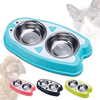 Cats and Small Dogs Bowl Cute 2 in 1 Food and Water Stainless Steel Container Elevated Candy Multicolor Resin Station Rais...