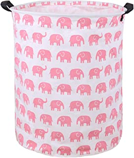 Canvas Storage Bins Pink Marble Texture Toy Hamper Round Organizer Basket Laundry Nursery Hamper Storage Basket with Handle 5020149