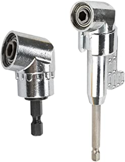 OSNY 1PC 105 Degree Right Angle Drill Angle Extension Power Screwdriver Drill Attachment + 1PC 1/4 Inch 105 Degree Angle Extension Socket Holder Adapter (C)