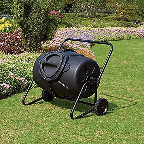 CRZJ Garden Compost Tumbler, 50 Gallon Wheeled Tumbler Komposter Garten-Yard-Arbeit Mulch Maker Composing Organic Waste