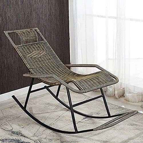 Silla mecedora al aire libre de mimbre silla de salón adultos mayores casual almuerzo descanso almuerzo descanso salón silla balcón jardín camping terraza Lazy Sun tumbonas L
