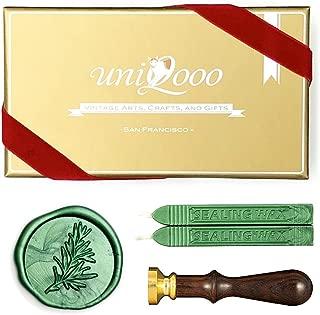 UNIQOOO Arts & Crafts Rosemary Botanical Twig Green Plants Wax Seal Stamp Kit, 2 Emerald Green Wick Wax Sticks, Great Embellishment of Greeting Cards, Wedding Invitations, Snail Mails, Gift Ideas