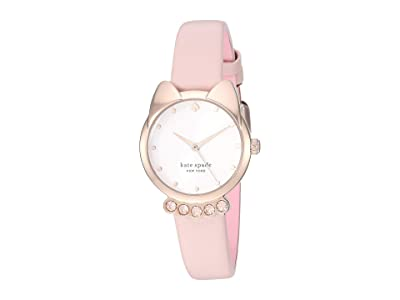 Kate Spade New York Cat Blush Leather Watch KSW1617 (Pink) Watches