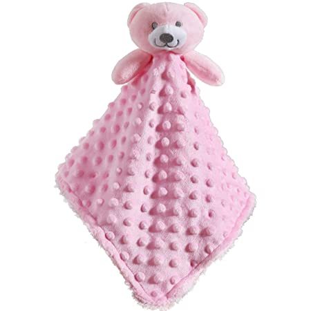 CREVENT Baby Comforting Security Blanket Lovey for Newborn Baby Girls Infants, Minky Dot Front + Sherpa Backing with Animal Face (Pink Bear)