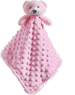 CREVENT Baby Comforting Security Blanket Lovey for Newborn Baby Girls Infants, Minky Dot Front + Sherpa Backing with Anima...