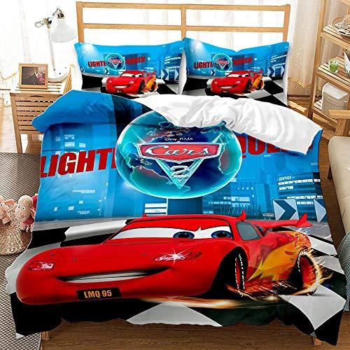 Kit de ropa de cama de la cubierta del coche 3D de la historieta de los niños, kit de cama individual para niños cama individual cama doble y cómoda camas de cubierta de edredón-A_220x240cm (3pcs)