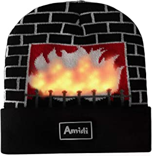 Unisex LED Knit Beanie Light Up Fireplace Winter Hat for Party Christmas