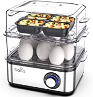 BASA Egg Cooker, 2018 New Multifunctional Electric Hard Boiled Egg Maker, 16 Egg Large Capacity Rapid Egg Boiler Steamer...