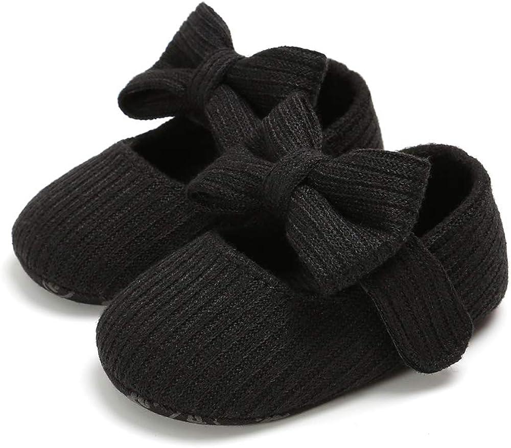   XYLUIGI Baby Girls Bowknot Crib Shoes Soft Sole Mary Jane Ballet Flats Infant Prewalker Dress Shoes   Mary Jane