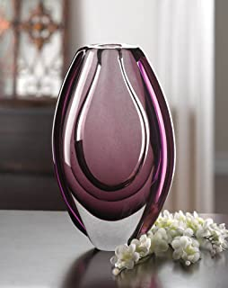 Mega Product 10016152 Gorgeous Unique Wild Art Vase, Orchid Hues/Clear Glass