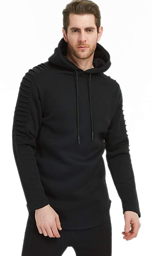 CYFLYMDER Mens Casual Long Sleeve Pullover Warm Fleece Cotton Sports Hoodie Hooded Breathable Sweatshirt