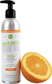 Super Omega 3 Fish Oil (Orange) by SFH | Highly Concentrated 3500mg EPA & DHA | Best Tasting Fish Oil for Heart Health & Wellness | NSF Sport Certified | 100% All Natural, Soy Free, Gluten Free (8oz)