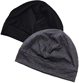 EINSKEY Skull Cap for Men/Women, 2-Pack Multifunctional Headwear Bike Hard Hat Helmet Liner Beanie Sleep Caps