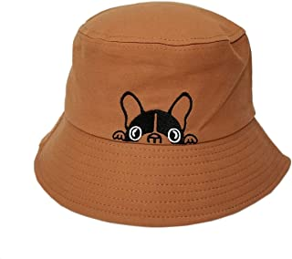 ACVIP Women's Men's Bulldog Embroided Hip-hop Fancy Bucket Hat Sun Headwear Cotton