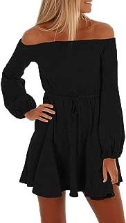 Women's Off The Shoulder Dress Long Sleeve Elegant Knitted Bodycon Tie Waist Sweater Pencil Dress Party Mini Dress