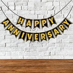 Wobbox Happy Anniversary Bunting Banner, Golden Glitter & Black , Anniversary Party Decoration