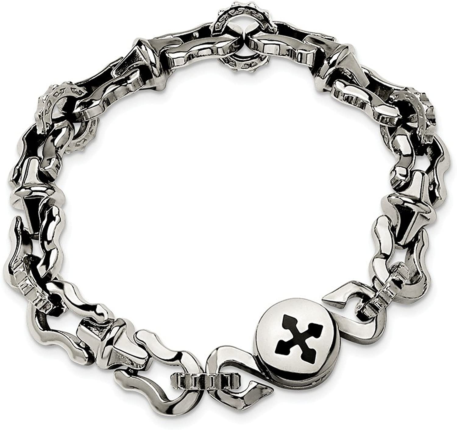 Beautiful Stainless Steel Polished Magnetic Clasp 8.5in Bracelet