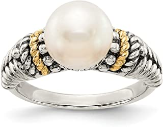 Sterling Silver Polished Antique finish With 14k 8mm Freshwater Cultured Pearl Ring - Ring Size Options Range: L to P