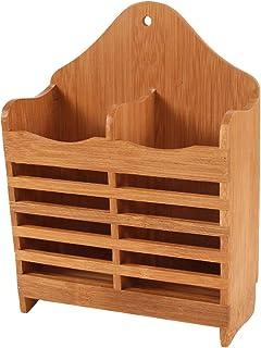 TOPBATHY Porte Ustensile de Cuisine en Bambou Multifonctionnel 2 Compartiments Support de Couverts Baguettes Support de Sé...