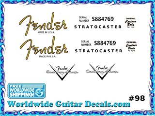 Fender Stratocaster Guitar Decal Headstock Waterslide Restoration logo 98