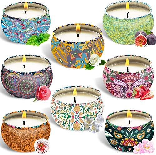 YIHANG Scented Candles jasmine, wood sage & sea salt, spring, bergamot,peony cherry blossom, blue bell,bergamot, gardenia,Natural Soy Wax Portable Travel Tin Candle,Set Gift of 8
