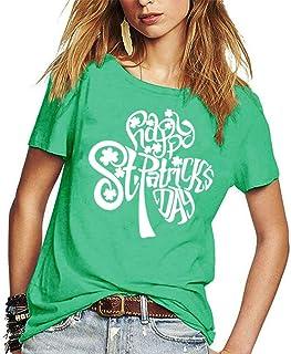 Women St Patricks Day Shirts Green Shamrock Irish Funny Saint Paddy Day T-Shirts Tees