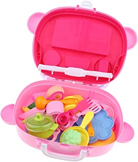 Early Development Child Kitchen Pretend Play Toys, Play Pots and Pans Set for Kids Toddlers Portable Kitchen Suitcase zghz...