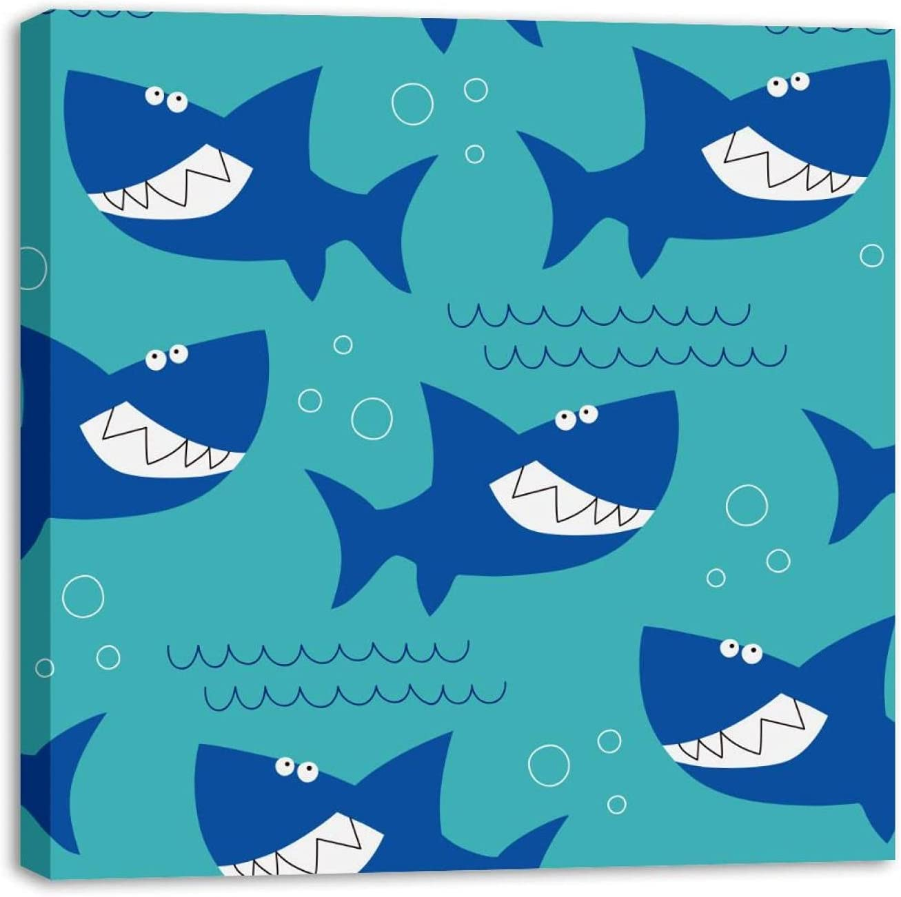 Framed Canvas Wall Art Ocean Sea Painting Large special price Artwo Shark Many popular brands Patern Oil