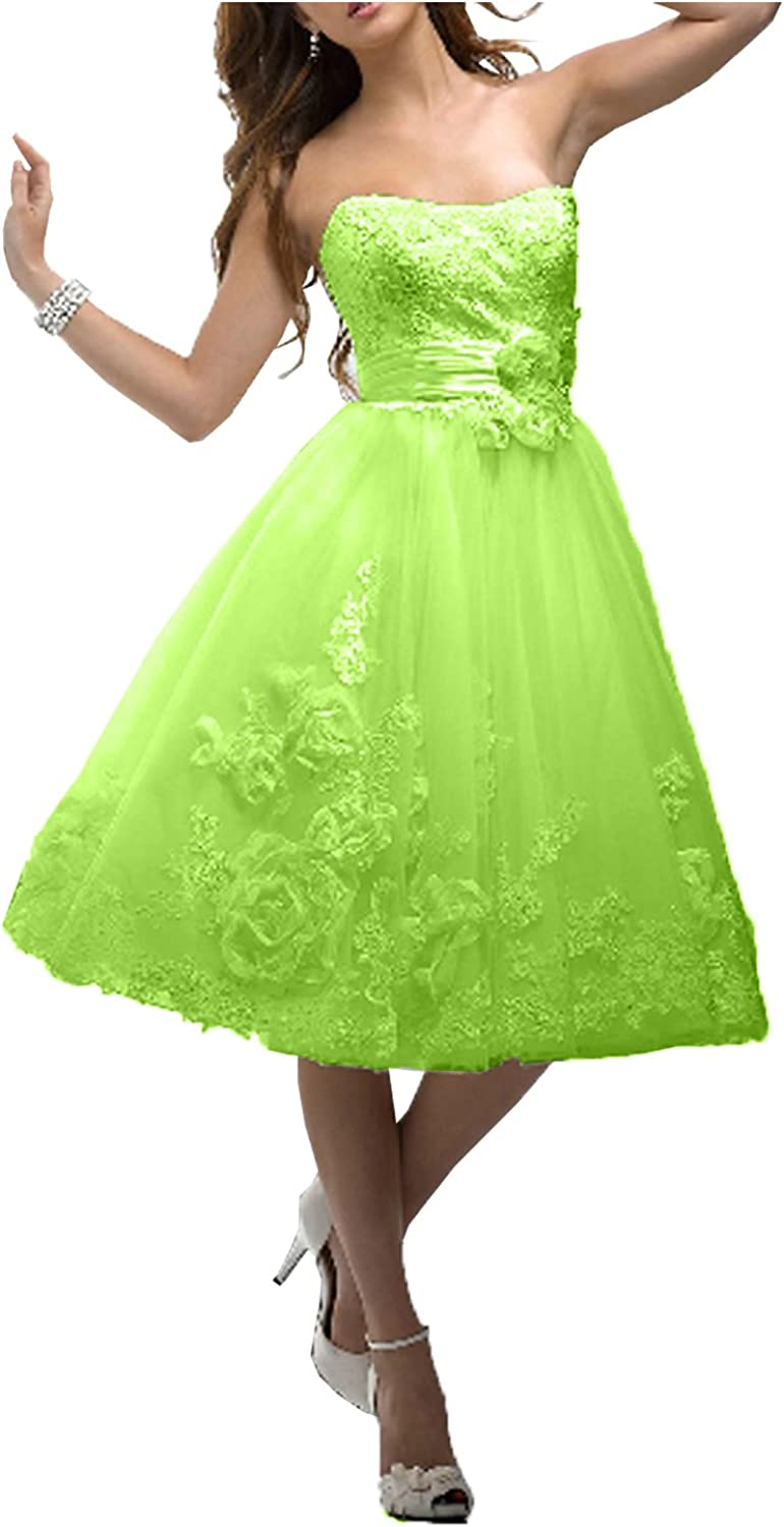 DressyMe Women's Strapless Short Party Prom Dresses Homecomin Gown Tulle Floral