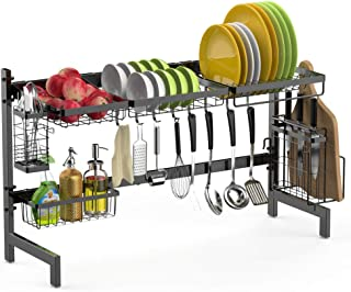 Over the Sink Dish Drying Rack, F-color 2 Tier Large Stainless Steel Drainer Shelf for Kitchen Counter Supplies Storage with Cutting Board Holder, Utensils Holder, Black