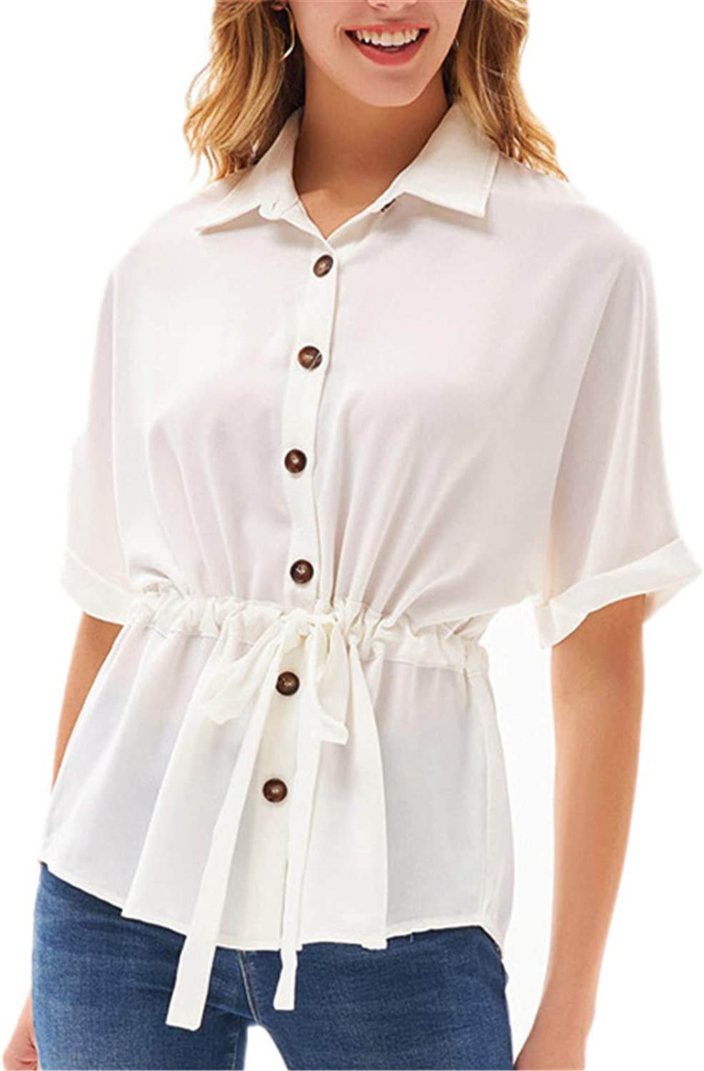 Women's Button Down Shirts Batwing Sleeve V Neck Casual Office Business Blouses Tops White S