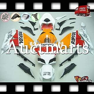 Auctmarts Injection Fairing Kit ABS Plastics Bodywork with FREE Bolt Kit for Honda CBR1000RR CBR 1000 RR 2012 2013 2014 2015 2016 Orange Red White Repsol (P/N:1v30)