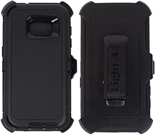 Heavy Duty Defender Impact Rugged with Built-in Screen Protector Case Cover with Clip for Samsung Galaxy S7 (Black)