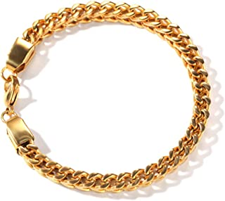 Couple Bracelet,6Mm Stainless Steel Square Chain Retro Personality Hip Hop Jewelry,Gold