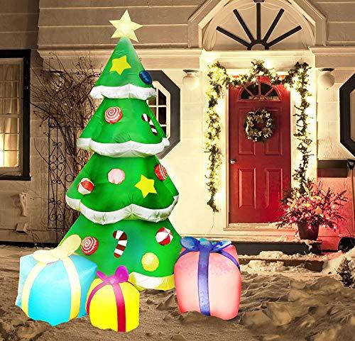 PXDTZ 2.1M Aufblasbarer Weihnachtsbaum, Künstlich Weihnachtsbaum Mit LED-Licht Weihnachtsdekoration, Selbstaufblasendes Aufblasbare Yard-Dekorations-Innendekorationen Im Freien