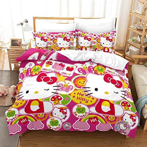 Viuseay Hello Kitty Theme Bedding Set Duvet Cover Full 3PCS, Kids/Toddler Girls Black Background Quilt Cover Set(1+ Duvet Cover, 2+ Pillow Case), Hidden Zipper and Corner Ties, Full Size